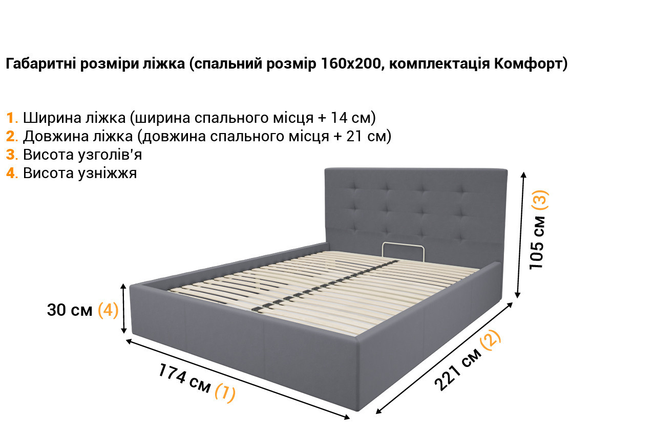 Мягкая кровать Зелла в Украине