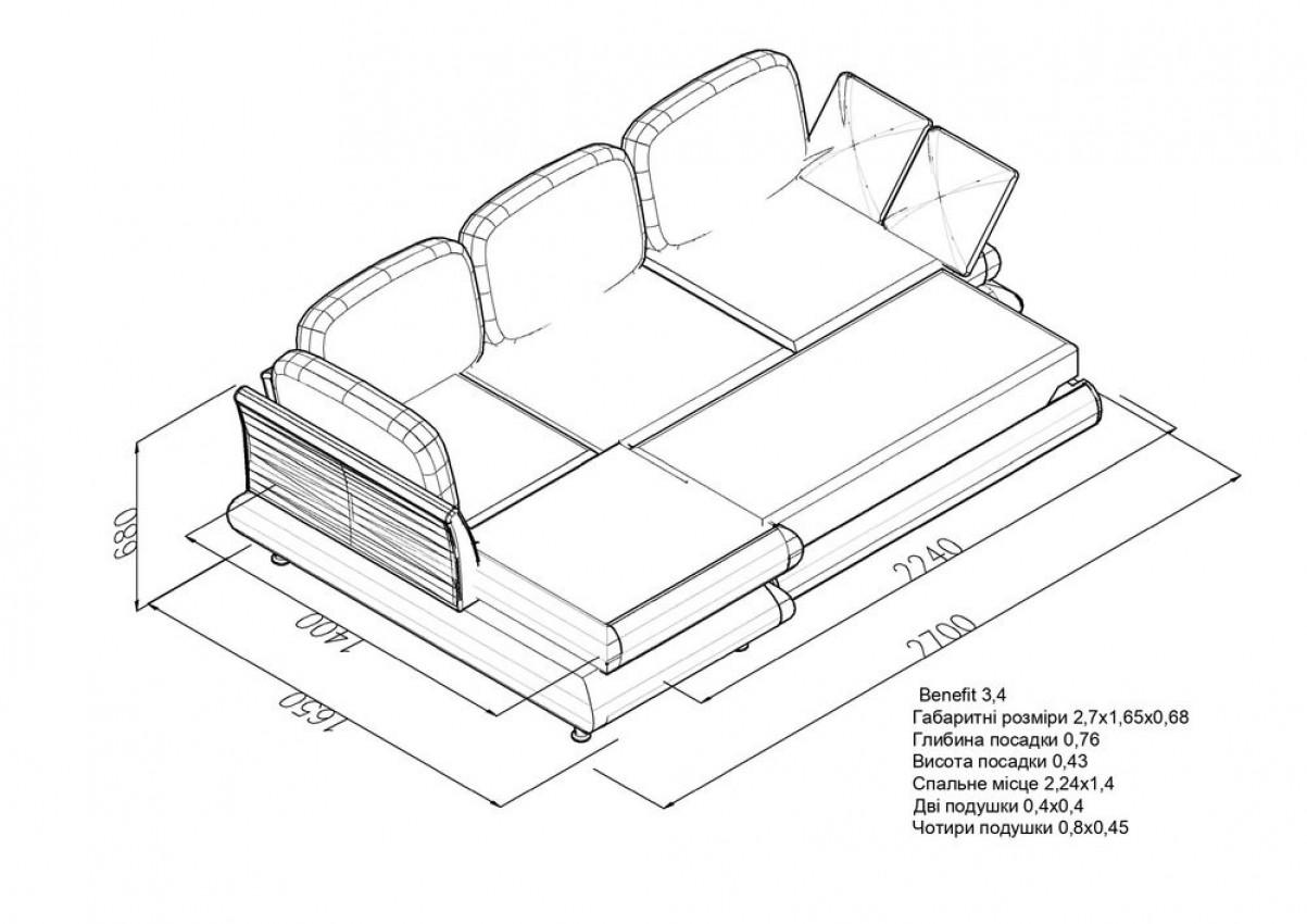 Угловой диван Benefit 3 Світ Матраців